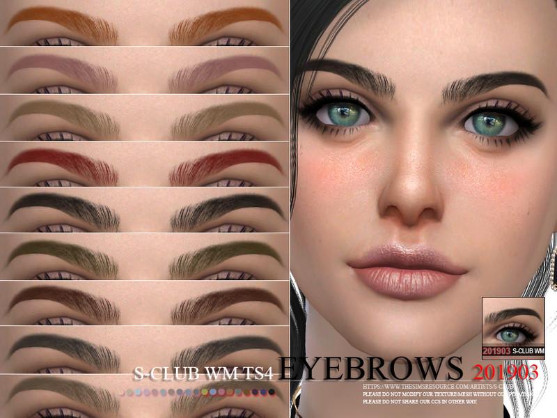 Брови Eyebrows 201903 от S-Club для Симс 4