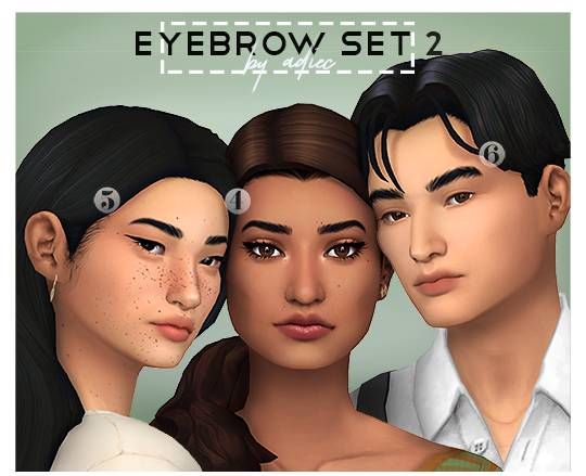 Брови Максис Матч EYEBROW SET 2 для Симс 4