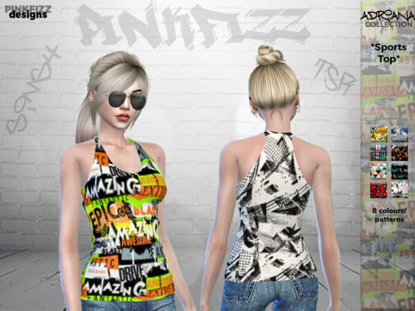 Майка-топ AdrianaSportsTop от Pinkfizzzzz для Симс 4