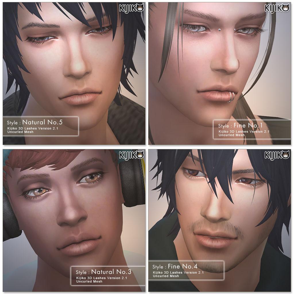 Набор ресниц 3D Lashes Uncurled Eyelashes Edition от Kijiko для Симс 4 (картинка 2)