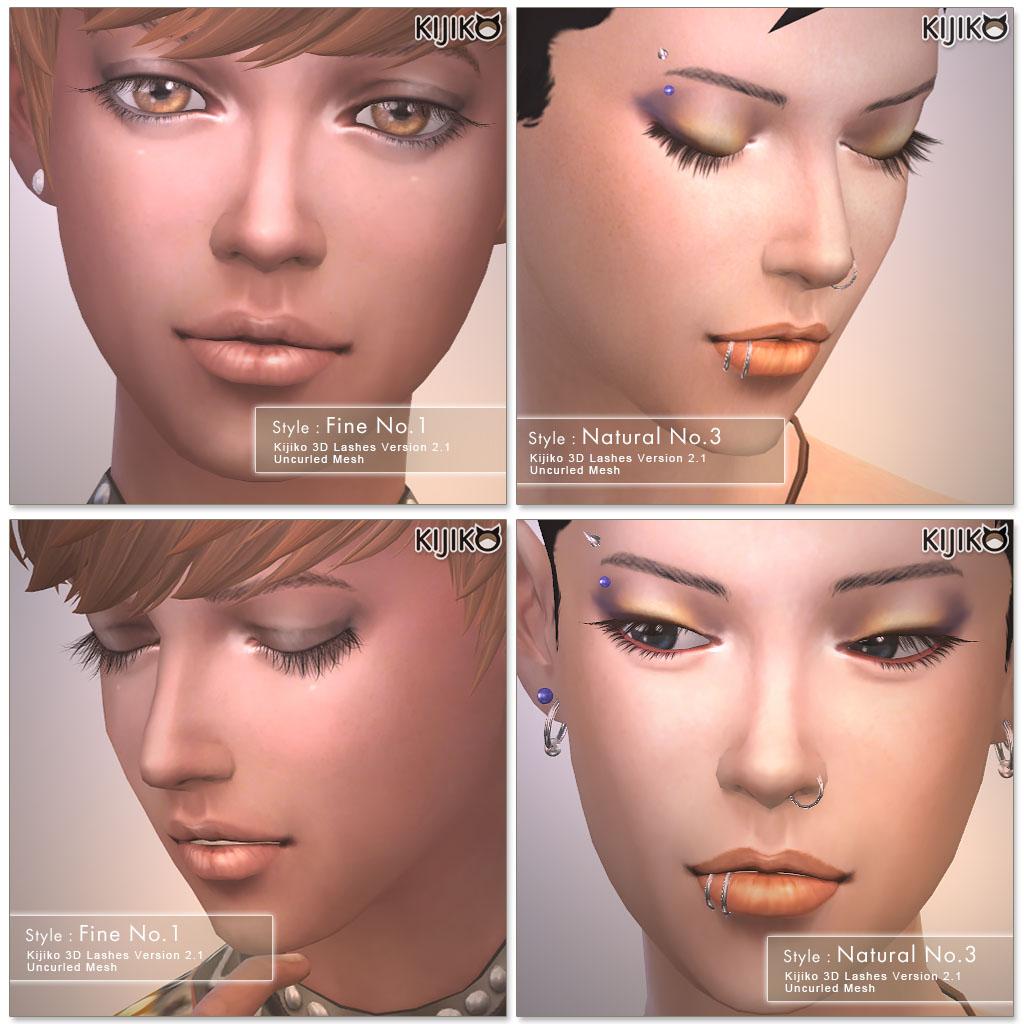 Набор ресниц 3D Lashes Uncurled Eyelashes Edition от Kijiko для Симс 4 (картинка 3)