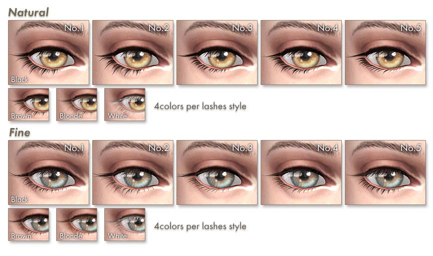 Набор ресниц 3D Lashes Uncurled Eyelashes Edition от Kijiko для Симс 4 (картинка 4)