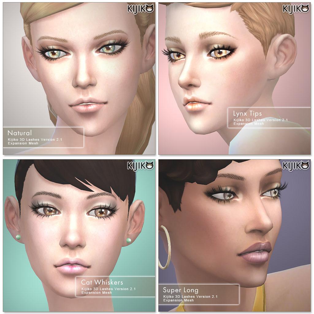 Набор ресниц 3D Lashes Version 2.1 от Kijiko для Симс 4 (картинка 2)