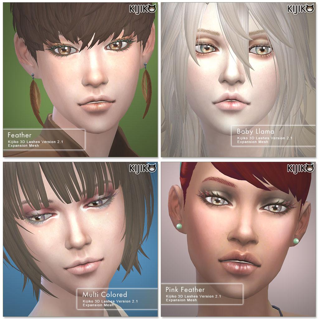 Набор ресниц 3D Lashes Version 2.1 от Kijiko для Симс 4 (картинка 3)