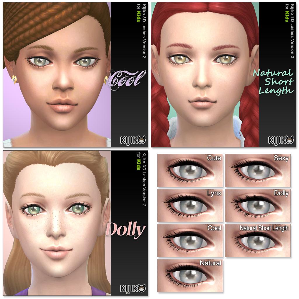 Набор ресниц 3D Lashes Version 2 for kids от Kijiko для Симс 4 (картинка 2)