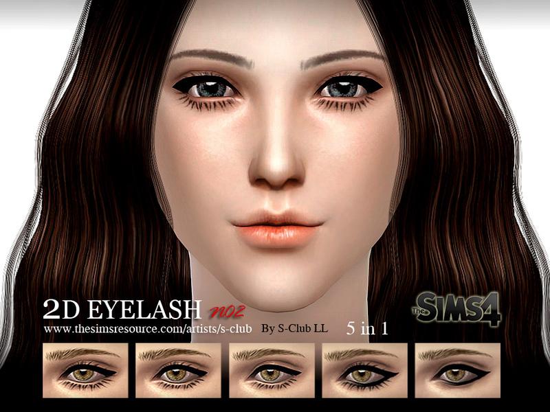 Ресницы 2D EYELASH no02 от S-Club для Симс 4