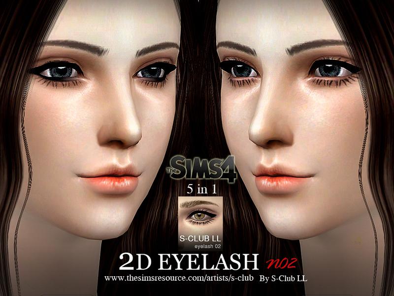 Ресницы 2D EYELASH no02 от S-Club для Симс 4 (картинка 2)