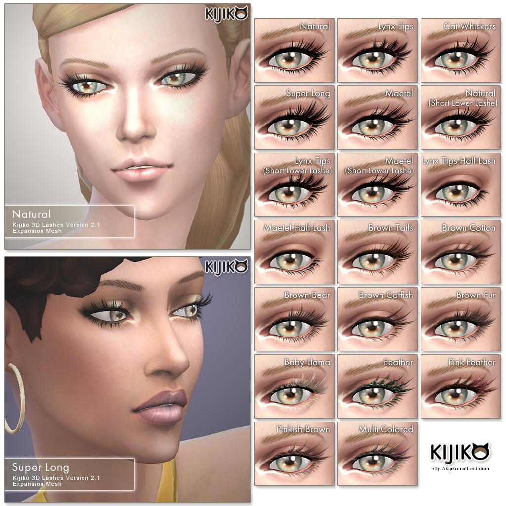 Ресницы 3D Lashes Version 2 for Skin Detail (Experimental) от Kijiko для Симс 4 (картинка 2)
