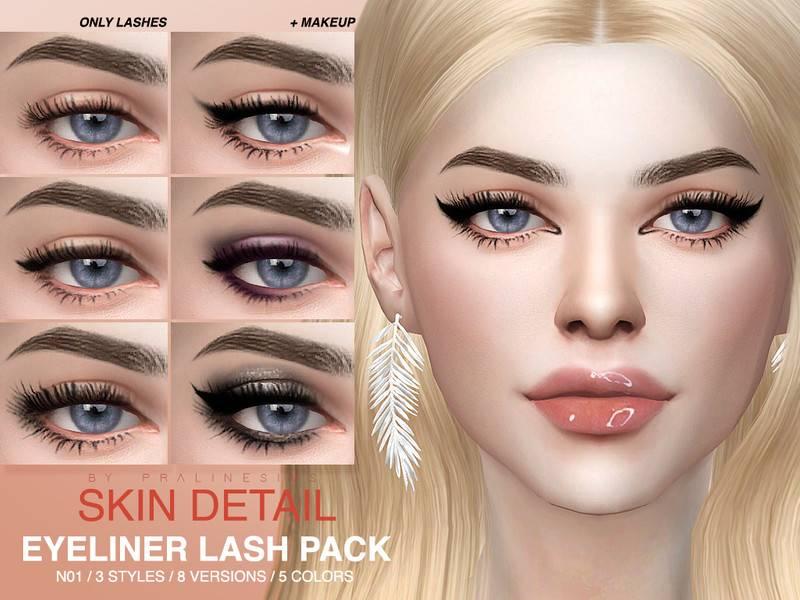 Ресницы Skin Detail Lash Pack N01 от Pralinesims для Симс 4