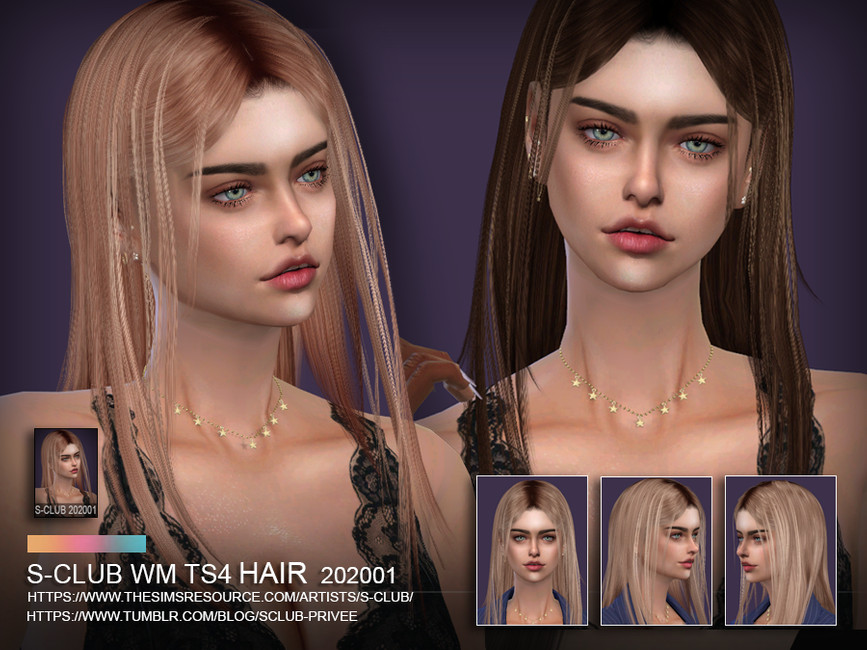 Прическа ts4 WM Hair 202001 для Симс 4