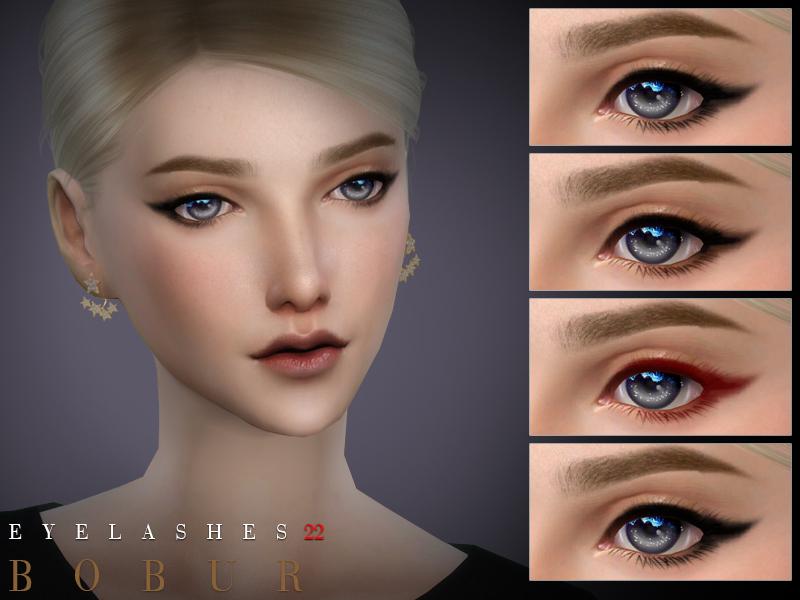 Ресницы Bobur Eyelashes 22 для Симс 4