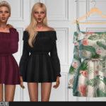 Платье с рукавами Симс 4