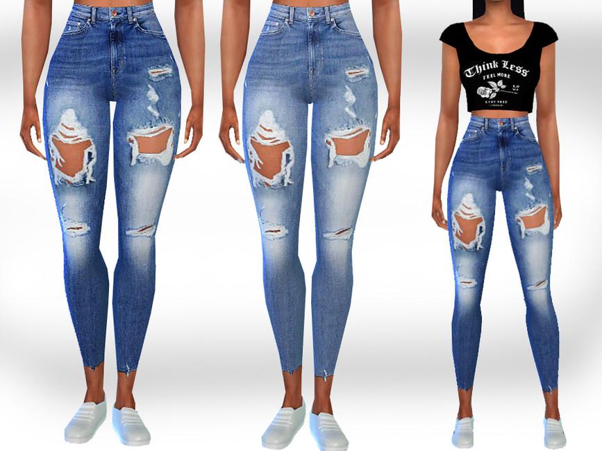 Рваные джинсы Симс 4
