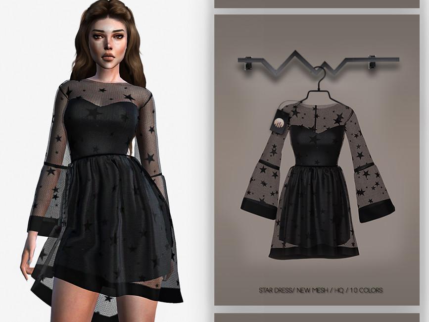 Черное платье Симс 4