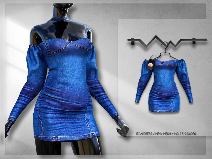 Джинсовое платье для Симс 4
