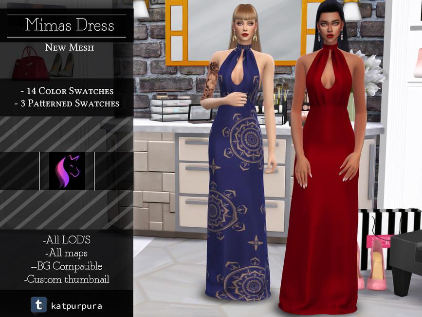 Мод длинное платье для Симс 4