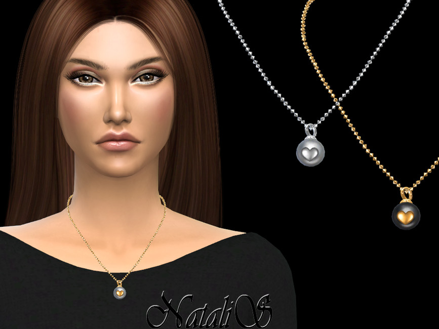 Ожерелье Pearl with heart necklace для Симс 4