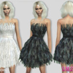 Платье 307 - Feather Dress Симс 4