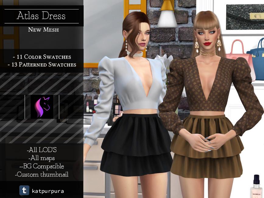 Платье Atlas Dress для Симс 4
