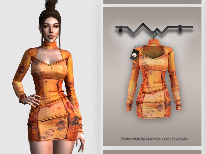Платье Bodycon Dress BD327 для Симс 4