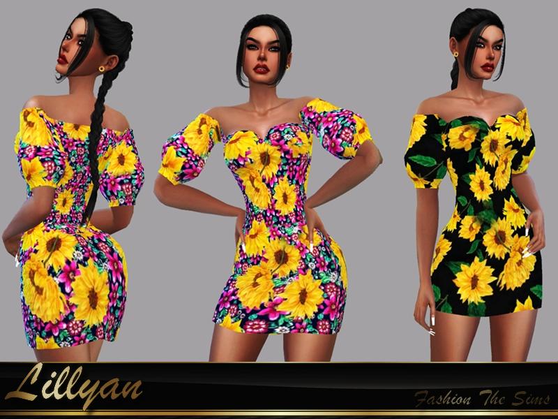 Платье Dress Flora для Симс 4