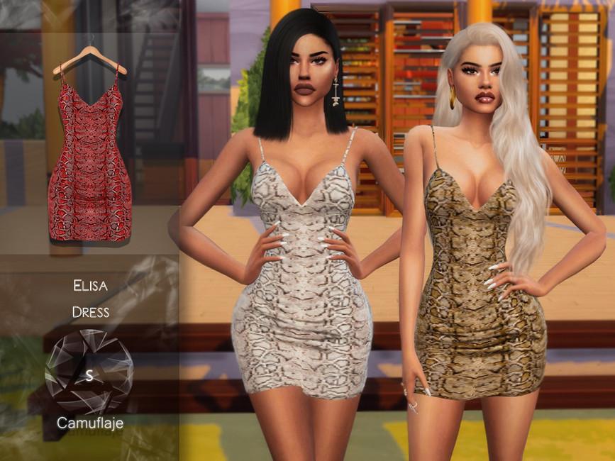 Платье Elisa Dress для Симс 4
