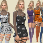 Платье Halloween 2020 Mini dress для Симс 4