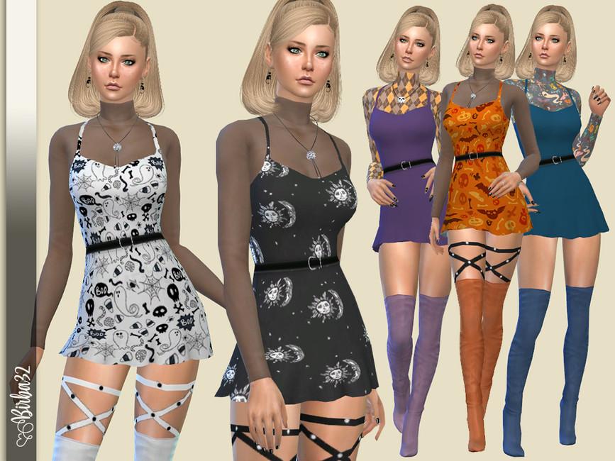 Платье Halloween 2020 Mini dress для Симс 4