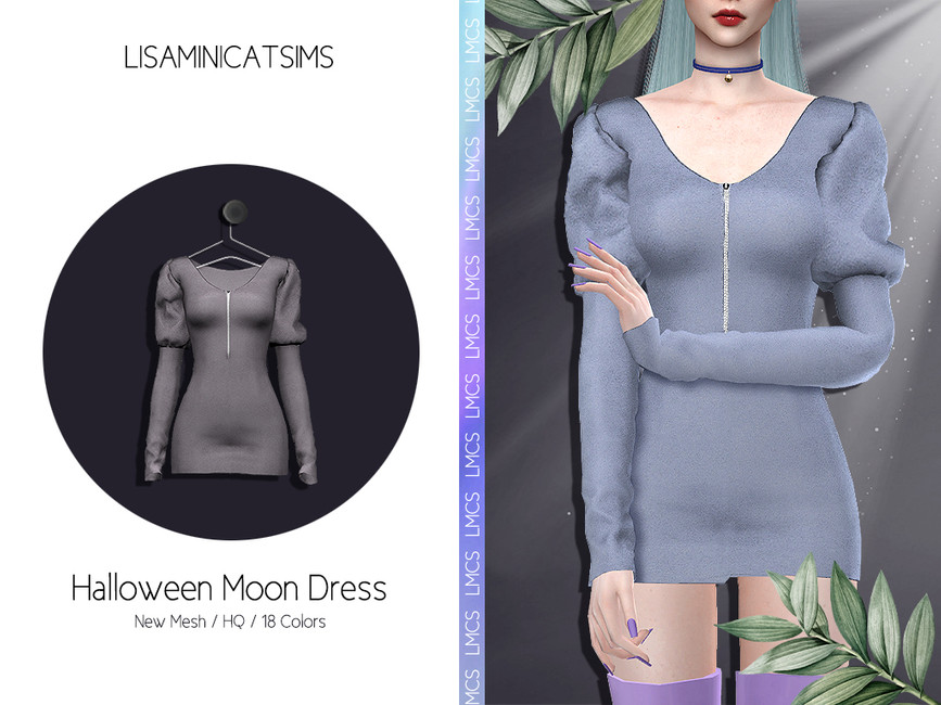 Платье Halloween Moon Dress для Симс 4