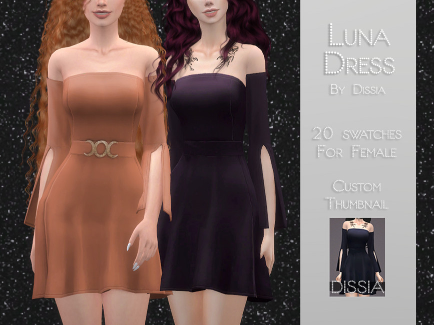 Платье Luna Dress Симс 4