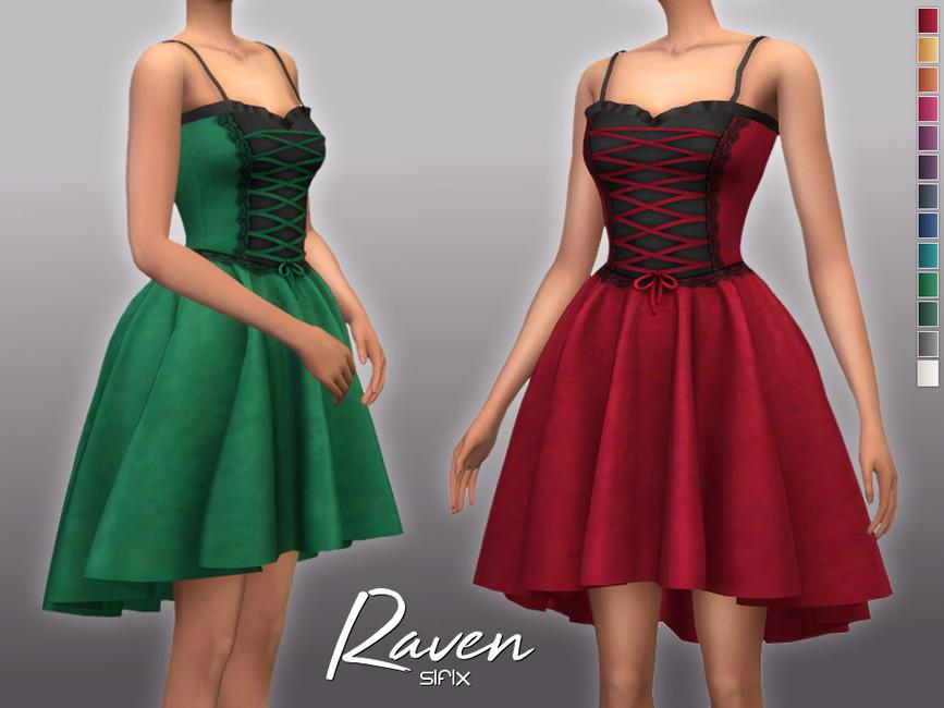 Платье Raven Dress для Симс 4