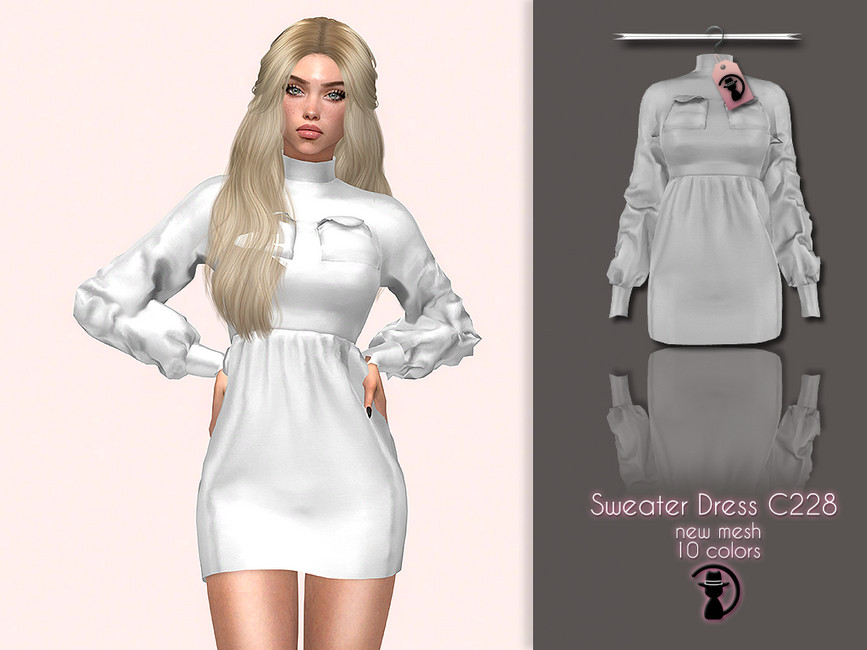 Платье Sweater Dress C228 для Симс 4