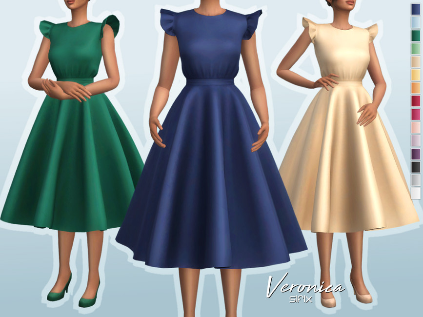 Платье Veronica Dress для Симс 4