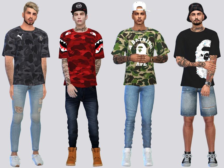 Мод мужские футболки Симс 4