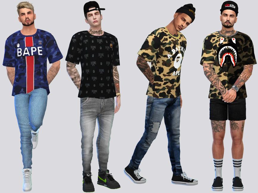 Мод мужские футболки Симс 4 (картинка 2)