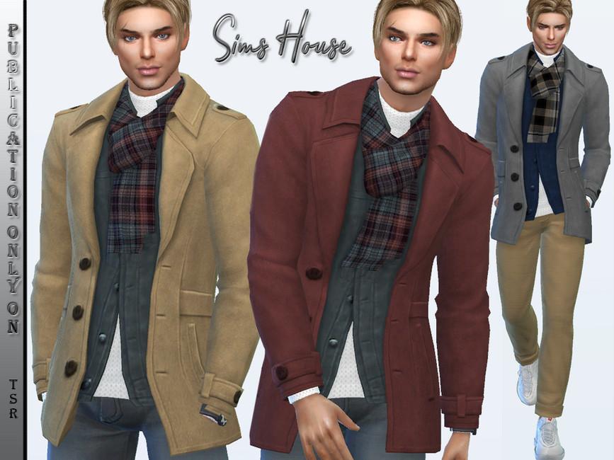 Мужское пальто для Симс 4