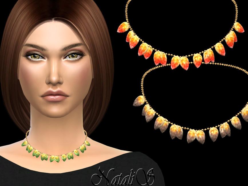Ожерелье Glass Leaves Necklace Симс 4