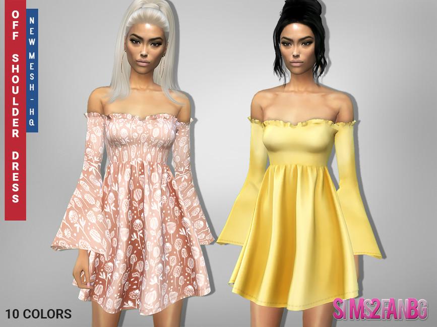 Платье 310 - Off Shoulder Dress Симс 4