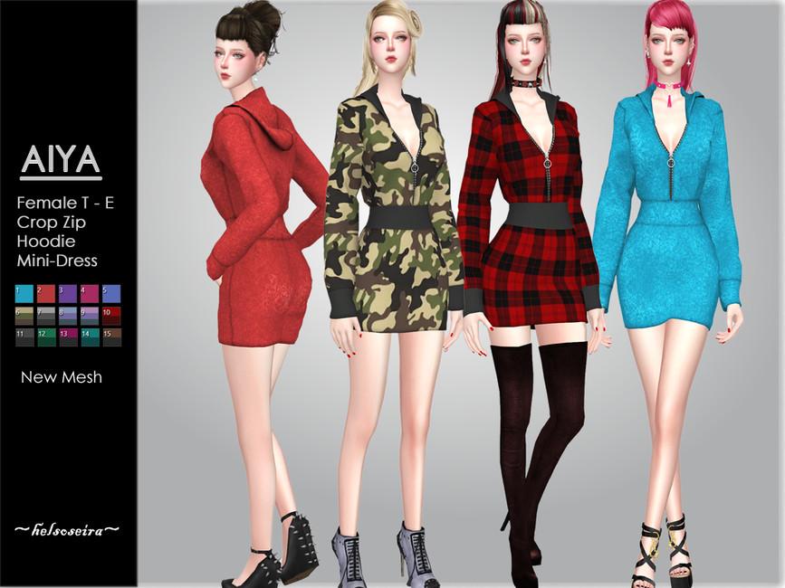 Платье AIYA - Hoodie Mini Dress Симс 4