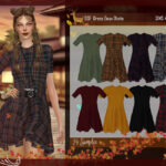 Платье DSF Dress Doux Autumn Симс 4