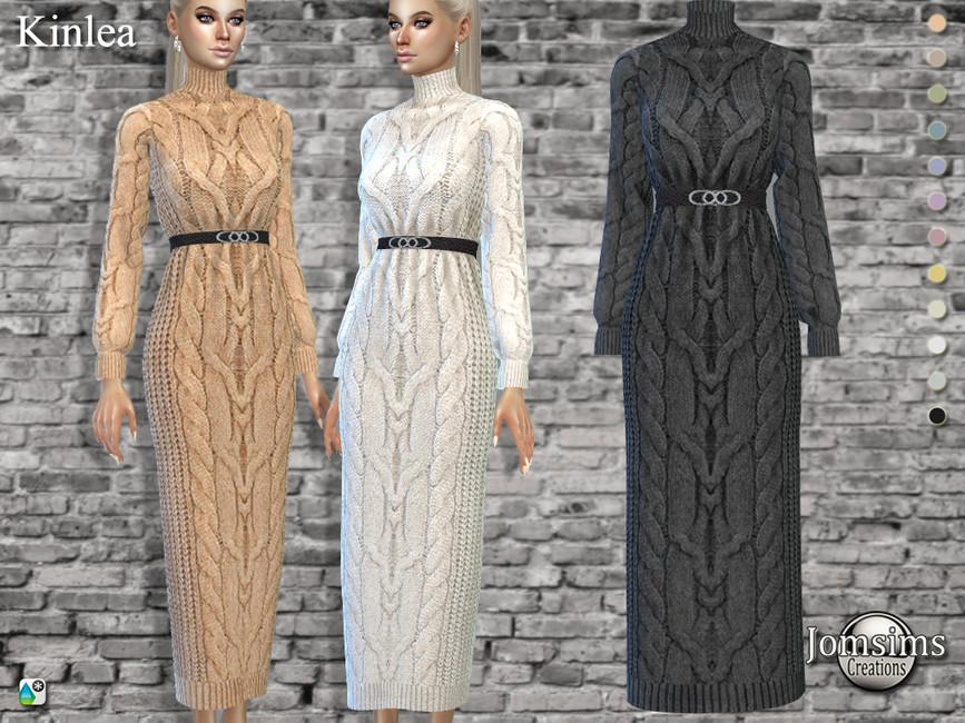 Платье Kinlea Long Wool Dress Симс 4