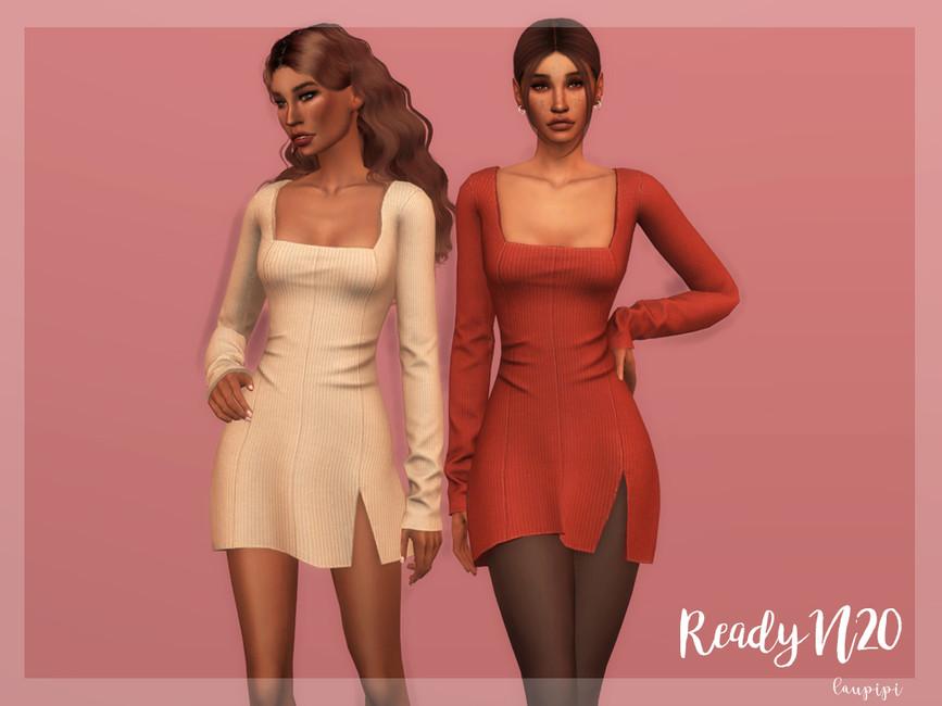 Платье Square Neckline Dress - DR371 Симс 4