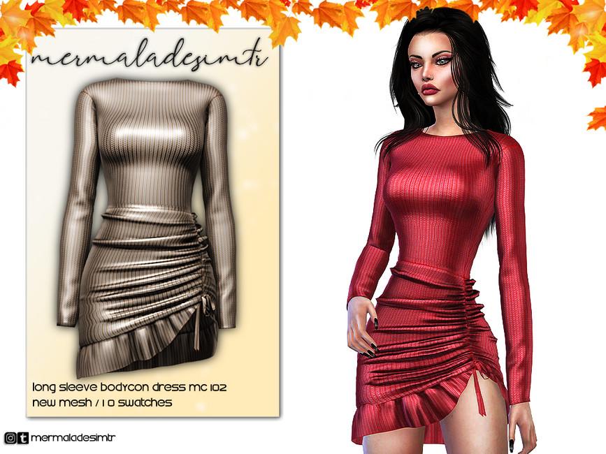 Платье с рукавами для Симс 4