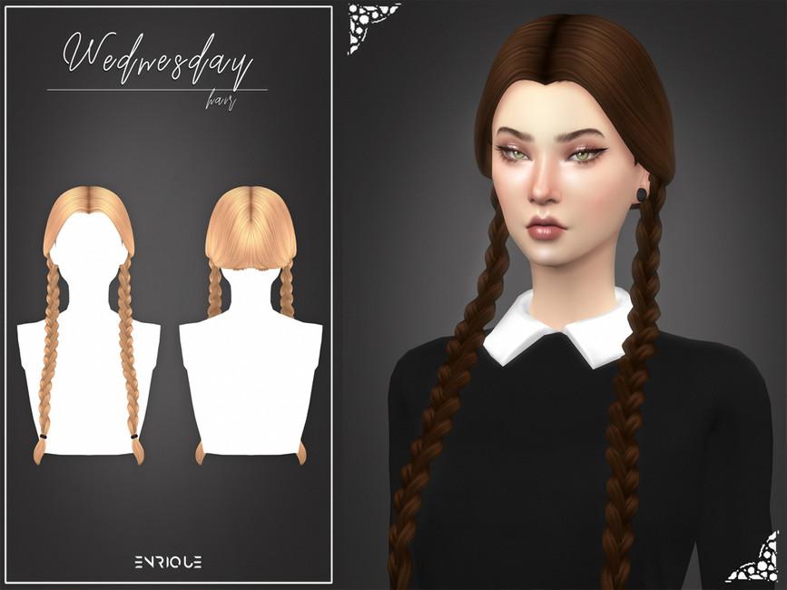 Прическа Wednesday Hairstyle Симс 4