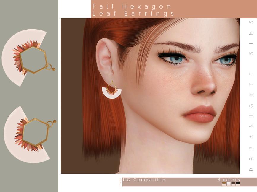 Серьги Fall Hexagon Leaf Earrings Симс 4