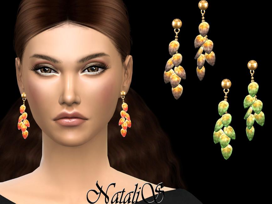 Серьги Glass Leaves Earrings для Симс 4
