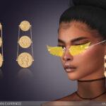 Серьги Triple Coin Earrings для Симс 4
