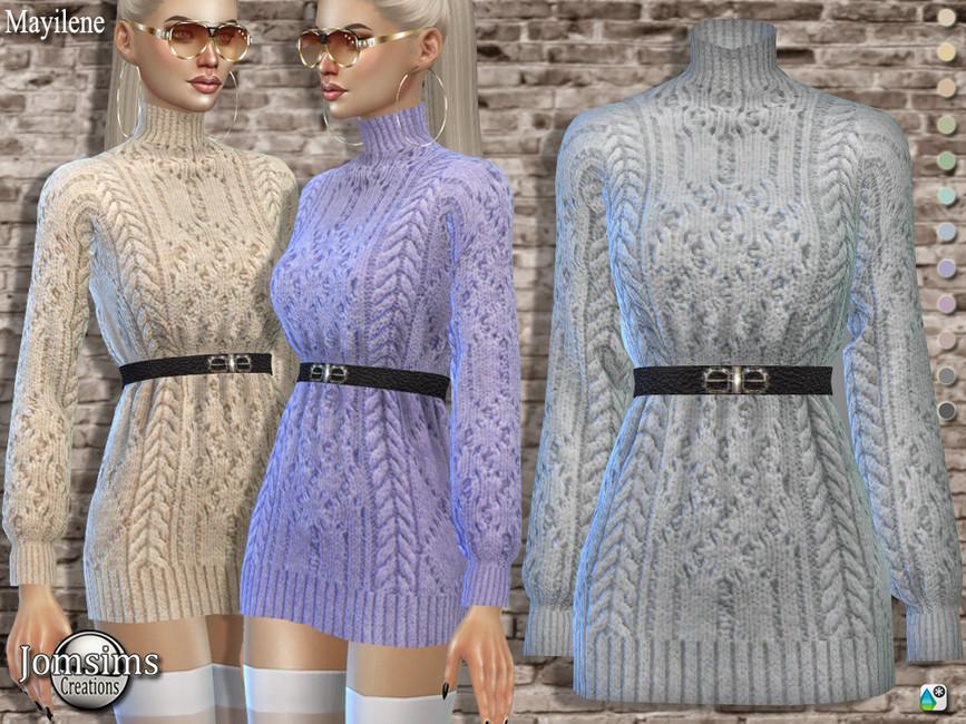 Вязаное платье Симс 4