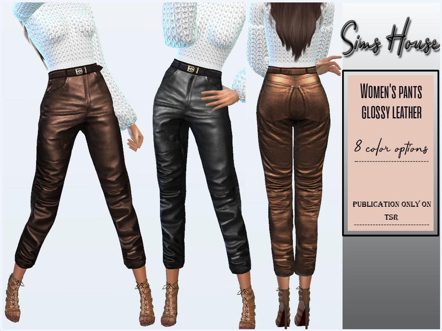 Брюки Women's Pants Glossy Leather Симс 4