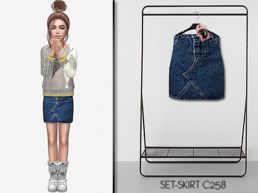 Джинсовая юбка Set-Skirt C258 Симс 4